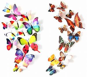 2 Set Creative 3D Color Butterfly Wall Stickers Living ...