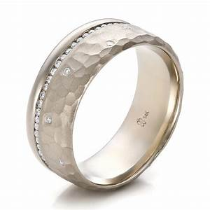 custom men39s diamond and hammered finish wedding band With custom mens wedding ring