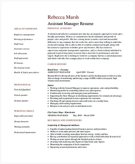 Retail Assistant Manager Resume Exles by Retail Manager Resume Exles