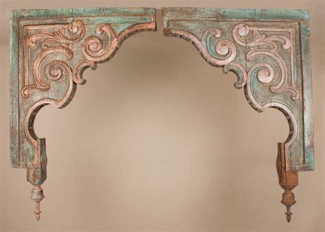pair  antique painted teak wood corbels  gujarat