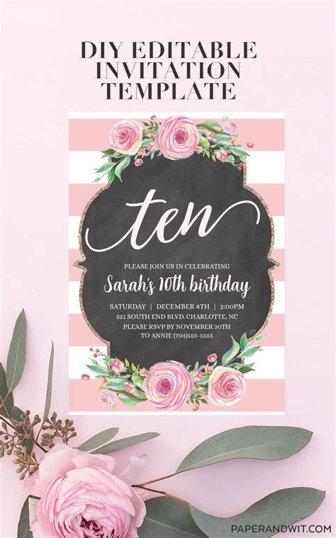 birthday invitations  girls digital pink