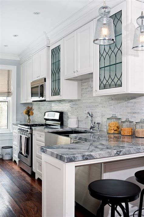 Ideas For Glass Kitchen Cabinets by Kitchen With Leaded Glass Cabinets Transitional Kitchen