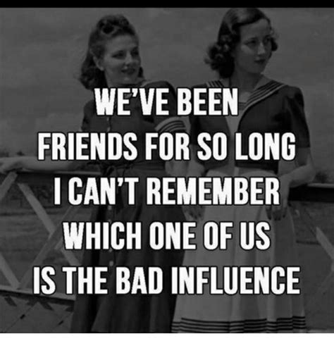 Bad Friend Memes - we ve been friends for so long i can t remember which one of us is the bad influence meme on me me