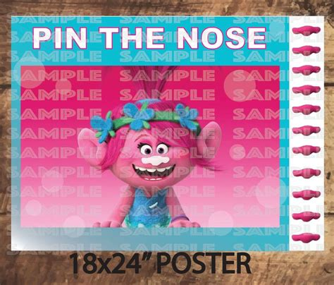 trolls nose templates trolls party game poppy pin the nose pink trolls movie