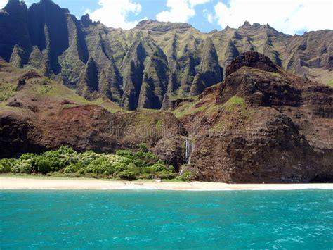 Cliffs And Waterfall At Na Pali Coast Kauai Hawaii Stock