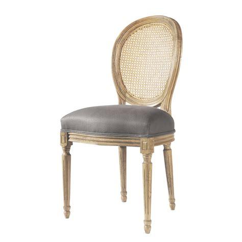 chaise medaillon en lin  chene massif taupe louis maisons du monde