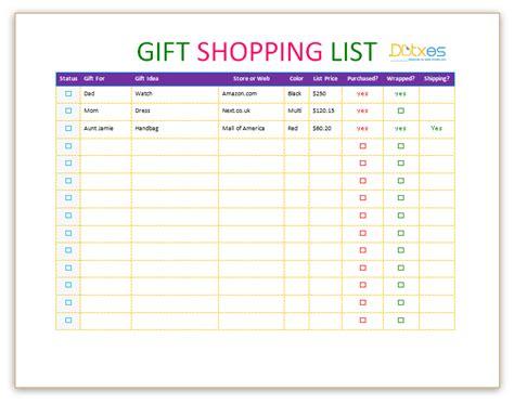 gift shopping list template dotxes
