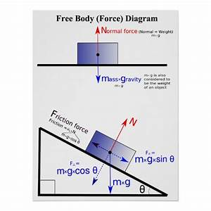 Physics Free Body Force Diagram Poster