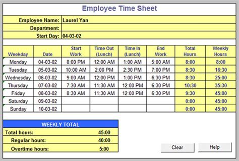 Excel Biweekly Timesheet Template Collection