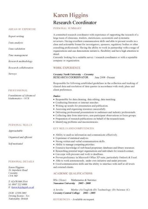 Cv Application Template by Cv Template Grant Application Search Cv