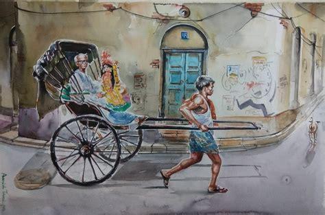 kolkata cityscape painting calcutta rickshaw  artist