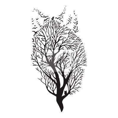Tatouage Loup Arbre