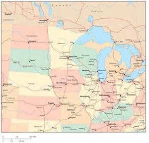 Midwest Region Map with Major Cities
