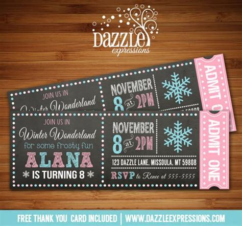Ticket Stub Template Pink And Blue by Printable Chalkboard Winter Wonderland Ticket Birthday