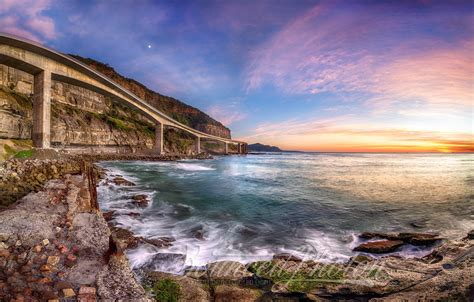Sea Cliff Bridge At Dawn Bounced Photon