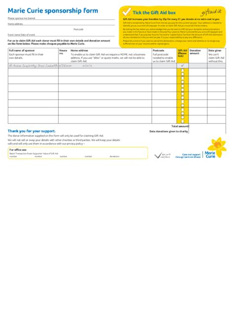 marie curie sponsorship form printable