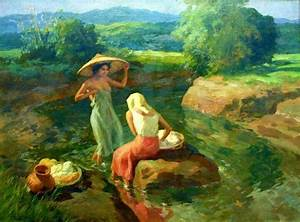 Women washing clothes by the river~ painting by Fernando ...
