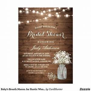 baby39s breath mason jar rustic wood bridal shower card With best wedding shower invitations
