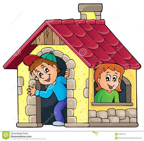 draw house plans children in small house theme 1 stock vector