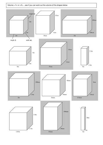 volume worksheet by winterpants teaching resources