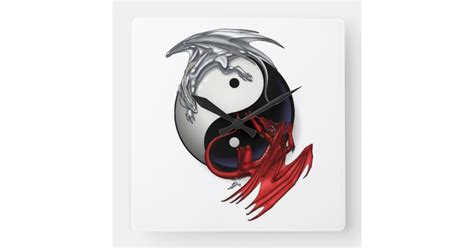 yin  clock fire  ice dragons square wall clock