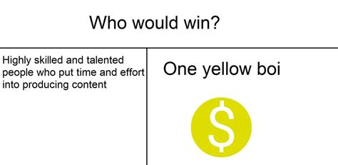 Who Would Win Template One Yellow Boi Who Would Win Your Meme