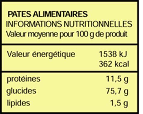 valeur energetique des pates informations nutritionnelles que dit l 233 tiquette doctissimo