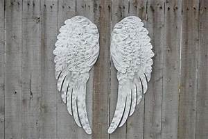 white silver angel wings the vintage artistry With kitchen cabinets lowes with metal angel wings wall art