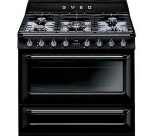 buy smeg 90 cm dual fuel range cooker black free delivery currys