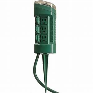 woods outdoor 6 outlet yard stake with photocell light With walmart outdoor lighting timer