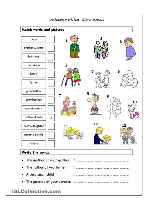 vocabulary matching worksheet elementary 2 2 family