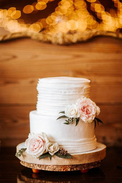 Rustic Inspired Wedding Dessert Bar With Two Tier White