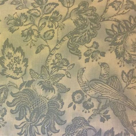 hd364 toile bird floral large scale blue heavy cotton - Toile Drapery Fabric