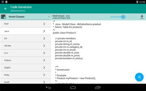 tool to generate class from database table c database script tool android apps on google play