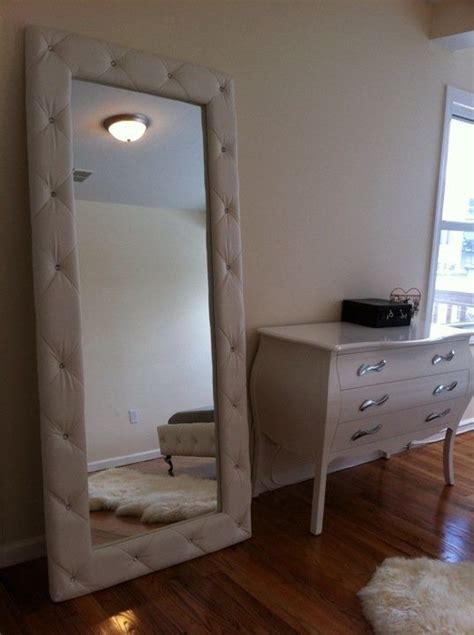 leaning mirror  tufted padded frame bedroom soft plush