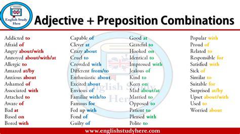 adjective preposition combinations english study