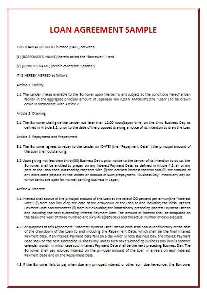 loan agreement template spearhead elearning