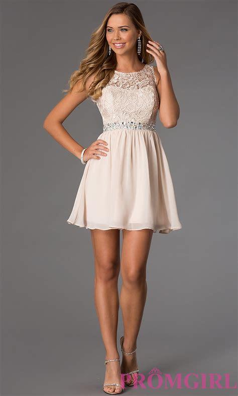 Short Sleeveless Lace-Bodice Chiffon Party Dress