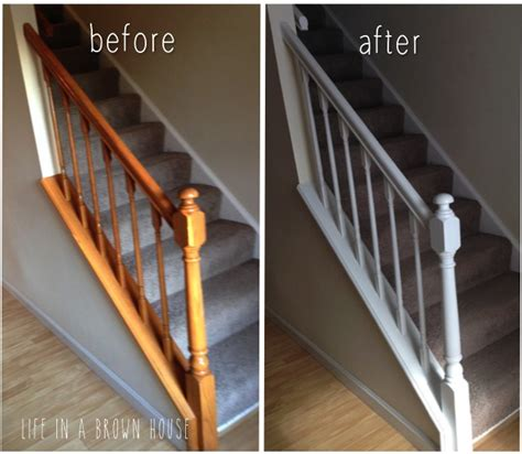 painting a banister white updated fresh banister makeover a brown house