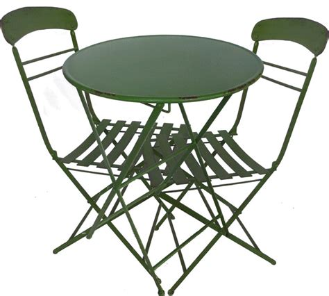 3 metal table and chairs set green rustic