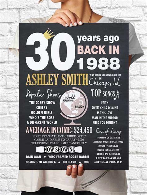 custom shower cost 30 years ago sign 30 years poster 30 years birthday