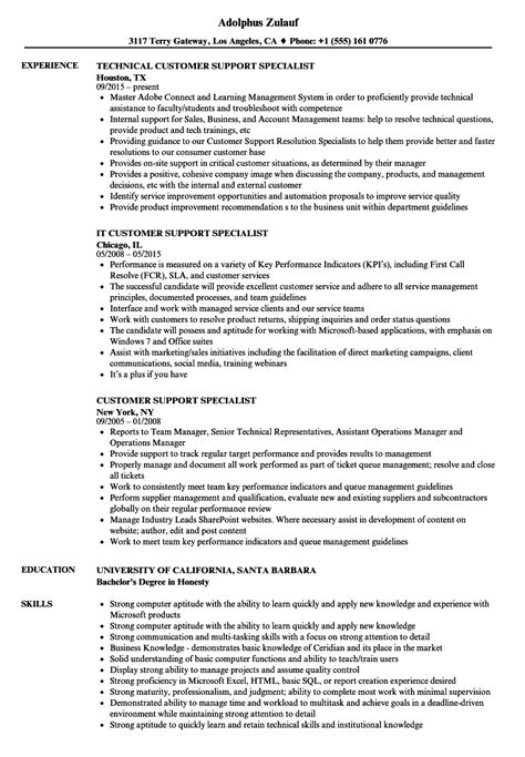 Customer Support Resume by Customer Service Specialist Description For Resume