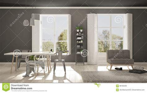 Scandinavian Living Room With Big Windows, Garden Panorama