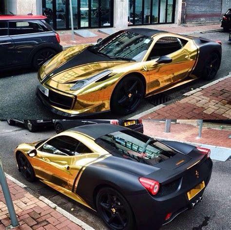 cool wrapped cars ferrari 458 gold chrome black custom 2016 car wraps