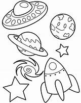 Coloring Galaxy Planet Spaceship Ufo Netart sketch template