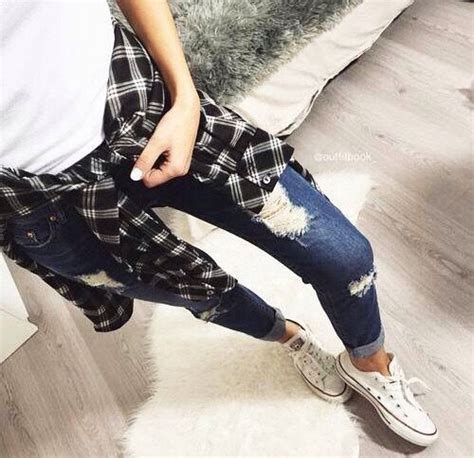 Bershka Riped Jacket 100k flannel ripped converse lookbook