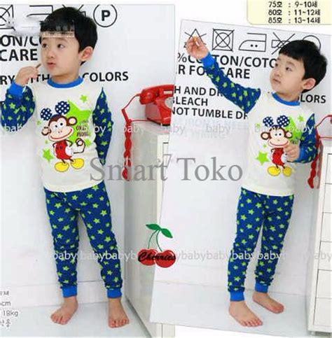 jual setelan baju tidur anak laki laki monkey kids cr