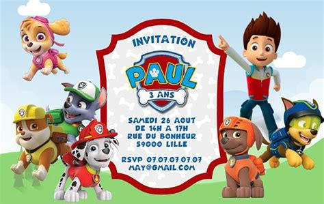 Carte Invitation Pat Patrouille