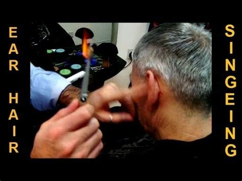 removing ear hair  fire traditional turkish singeing