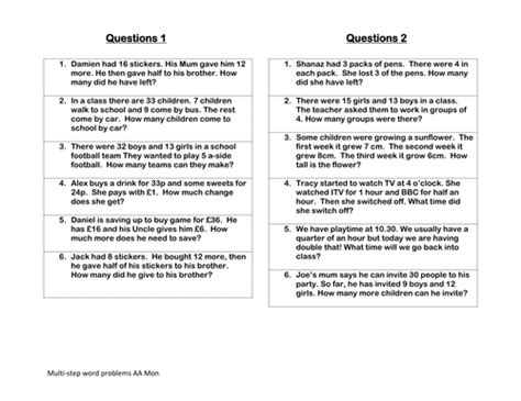 multi step word problems by tunnicliffe teaching